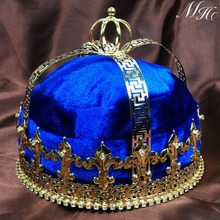 "Blue Velvet Imperial Medieval Crowns Fleur De Lis 6.5"" King Full Round Gold Tiaras Pageant Party Costumes For Men(China (Mainland))"