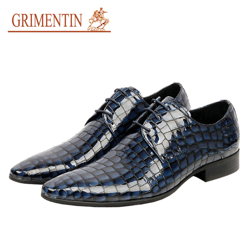2015 High top Italian luxury brand casual mens dress shoes genuine leather crocodile design flats men party size: 6-10 - GRIMENTIN store