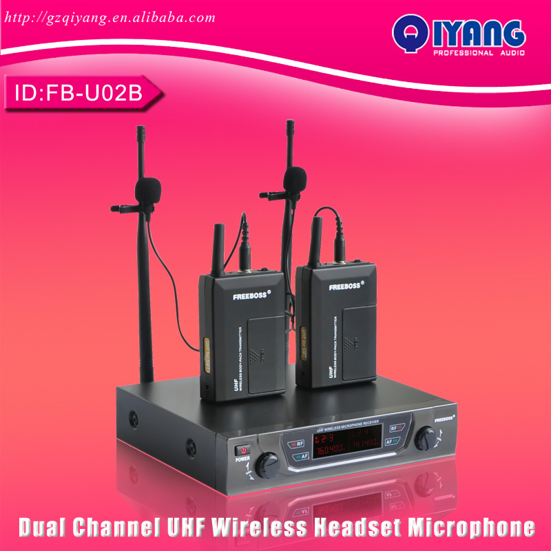 2015 UHF Professional Microphones 2 Bodypacks + 2 Laples Karaoke Performance Wireless Lapel Microphone System FB-U02B(China (Mainland))