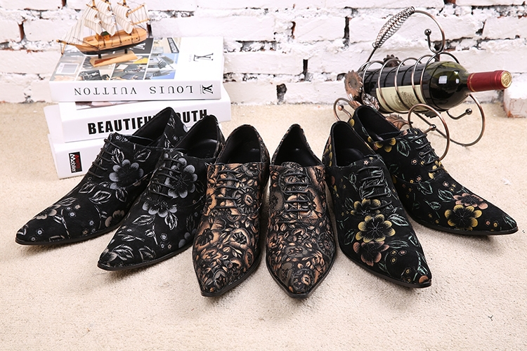 Здесь можно купить  2015 Latest Fashion Brand Men Shoes Good Quality Leather Oxford Shoes Flowers Print Design Creepers Plus Size 46 Tenis Masculino  Обувь