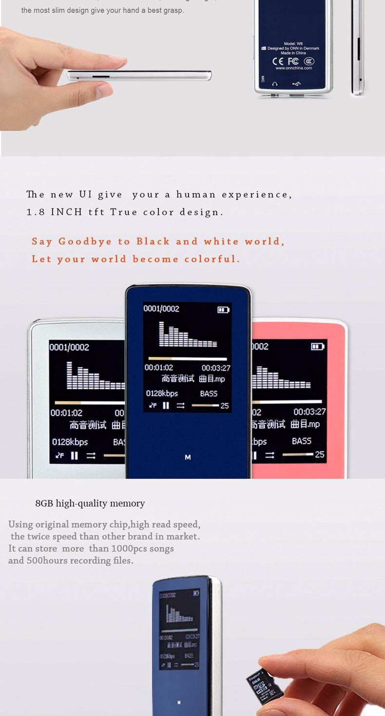 Купить 2016 Новый профессиональный ONN MP3 Bluetooth Музыкальный Плеер 8 ГБ хранения 1.8 Дюймов Экран 60 h Спорта MP3 высокого качества lossless Рекордер