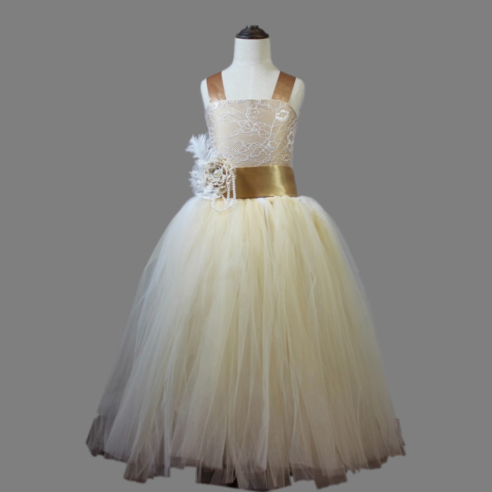 Champagne Colored Flower Girl Dresses
