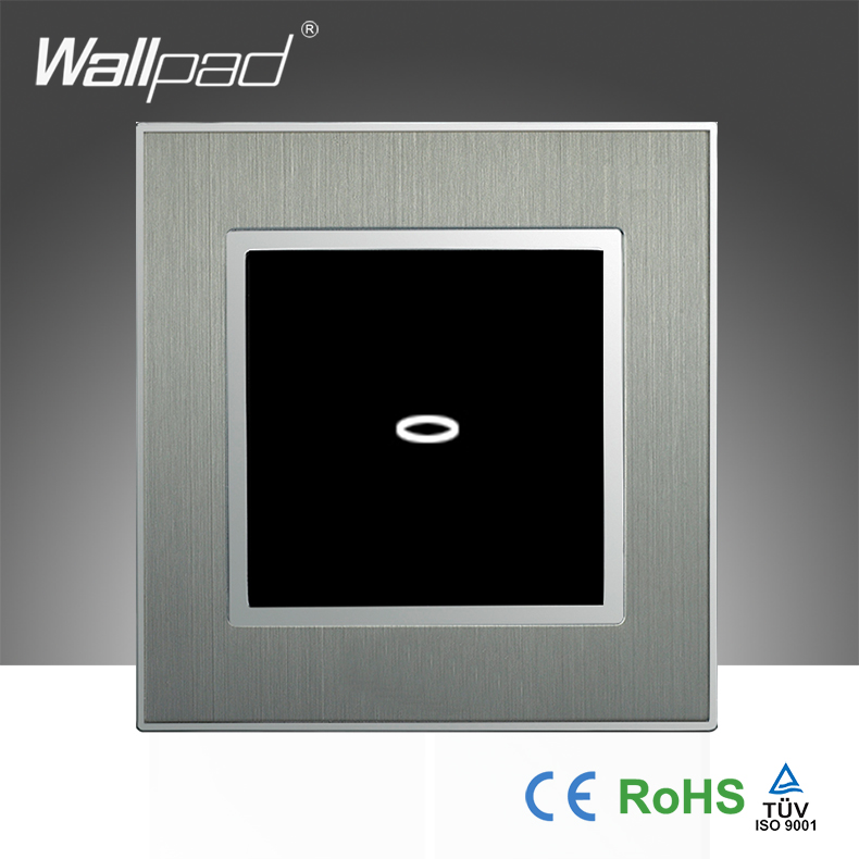 Hot Selling Wallpad Brushed Silver Metal Touch Frame UK 110~250V 1 Gang 2 Way 3 way Touch Wall Lamps Light Switch,Free Shipping<br><br>Aliexpress