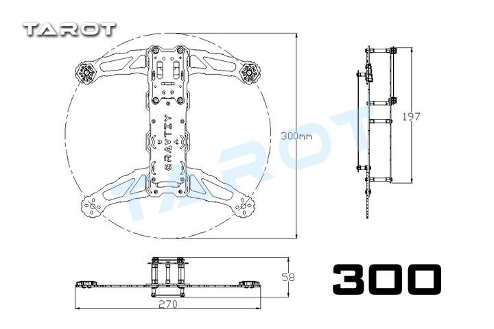 F16829 Tarot Mini 300 Runner TL300B Carbon Fiber Frame kit 4-axle for FPV Quadcopter Mutilcopter DJI Drone Aircraft Accessories