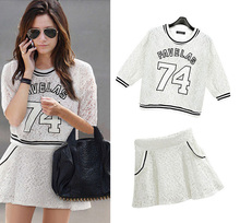 Letter Printed Free Shipping 2014 Summer Active Half Sleeve Blouse+ High Quality Mini Dress Fashion Women White Suit Hollow Out(China (Mainland))