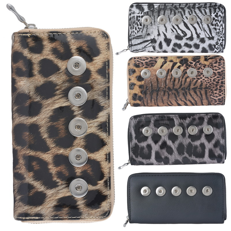 Women Bag Leopard Snap Wallet Lady Purse PU Leather Fit Snap Button DIY Snap Jewelry(Fit Snap Fastener Size:5.5mm)(China (Mainland))