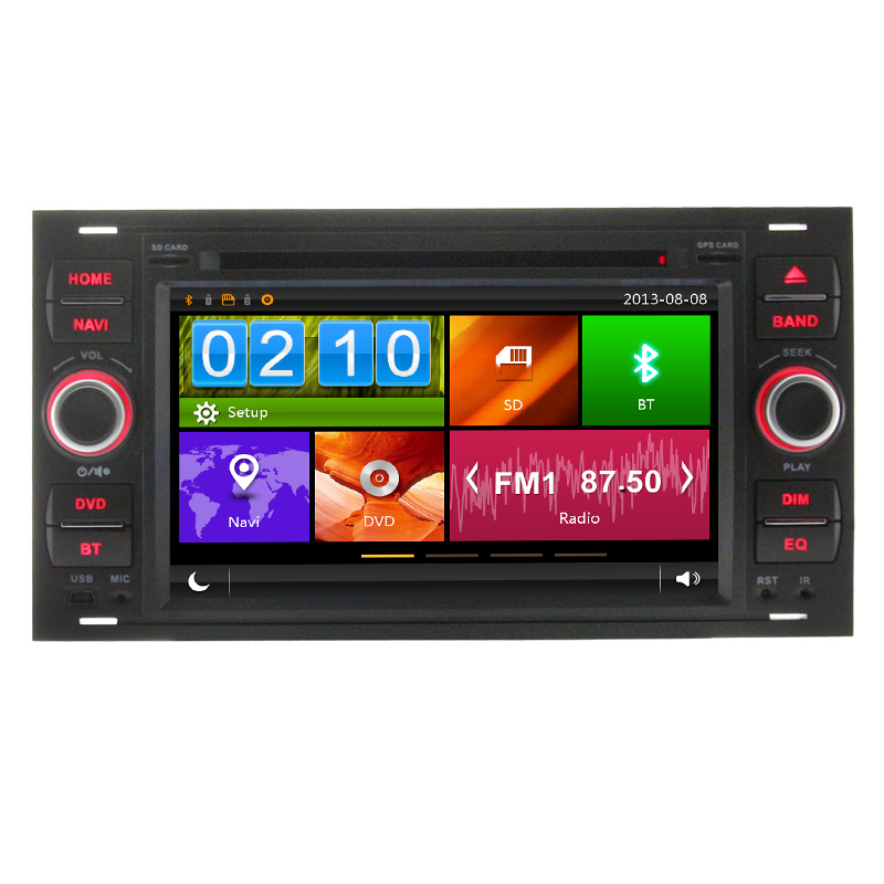2 Din 7 Inch In dash Car DVD Player For 2005 Ford/Mondeo/Focus/Transit/C-MAX With GPS Navigation Radio BT(China (Mainland))