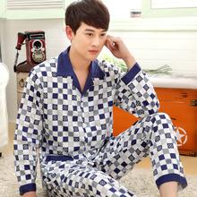 New  Men Pajama Sets 2015 spring and autumn thin plus size cotton long-sleeve 100% male sleepwear plus size  teenage lounge set(China (Mainland))