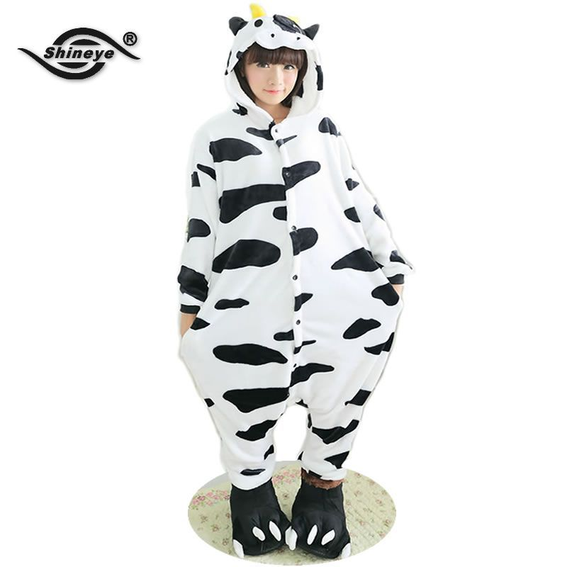 Cow Unisex Adult Flannel Hooded Pajamas Adults Cosplay Cartoon Cute Animal Onesies Sleepwear Suit NightclothesОдежда и ак�е��уары<br><br><br>Aliexpress