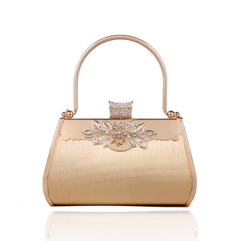 Mini Golden Women's Handbag Fashion Brand Bags Flower Metal Evening Bag Clutch Purse Party Wedding Free Shipping(China (Mainland))