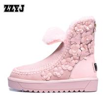 ZZYJ una flores de piel de señora de la nieve botas de cuero Genuino moda realmente lana caliente botas de nieve plana de invierno de gran tamaño de las mujeres zapatos(China (Mainland))