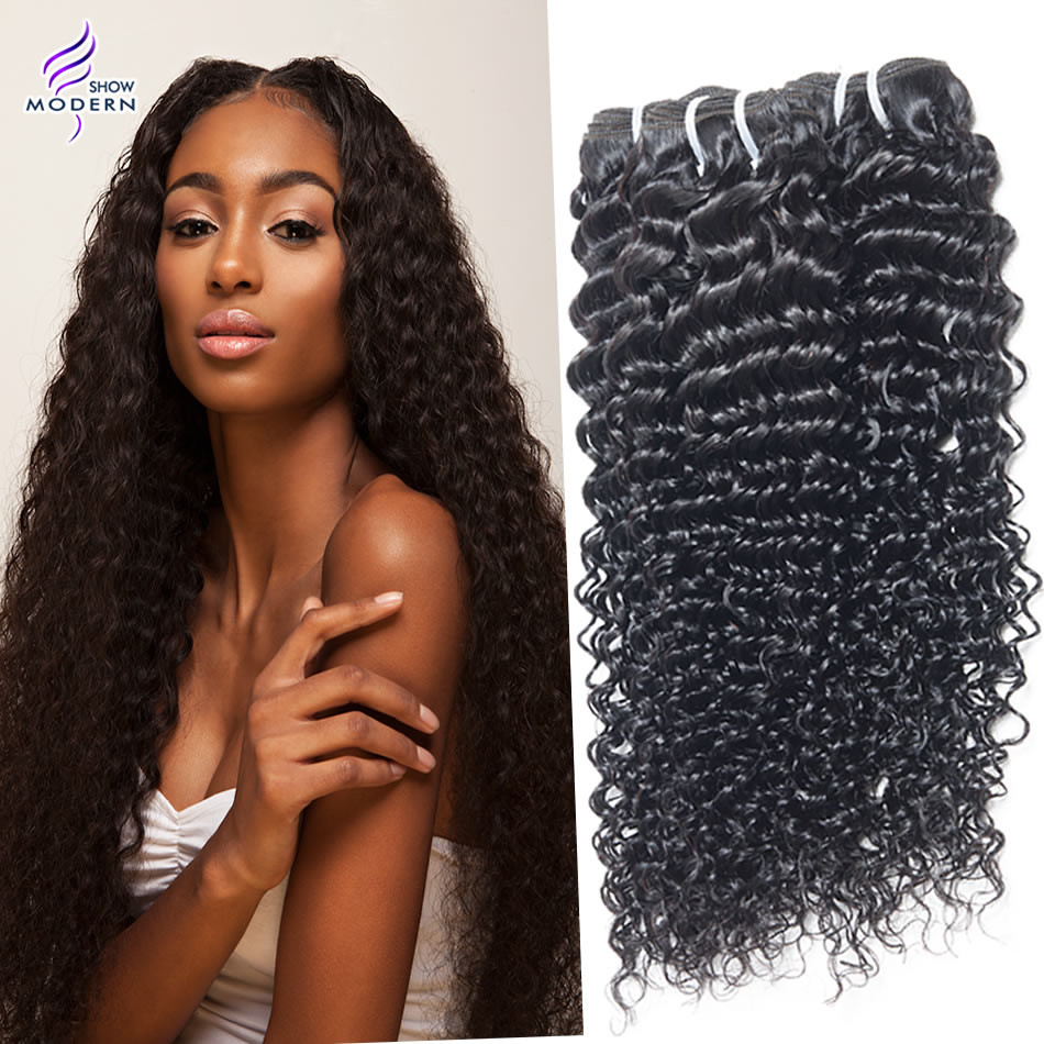 Modern show Indian deep curly hair 3/4pcs bundles, indian virgin hair color 1b, kinky curly hair extensions can bed yed<br><br>Aliexpress