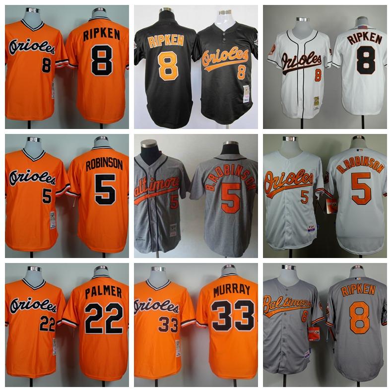 Baltimore Orioles 8 Cal Ripken Jr Baseball Jerseys 5 Brooks Robinson 33 Eddie Murray 22 Jim Palmer Cooperstown Throwback Jersey(China (Mainland))