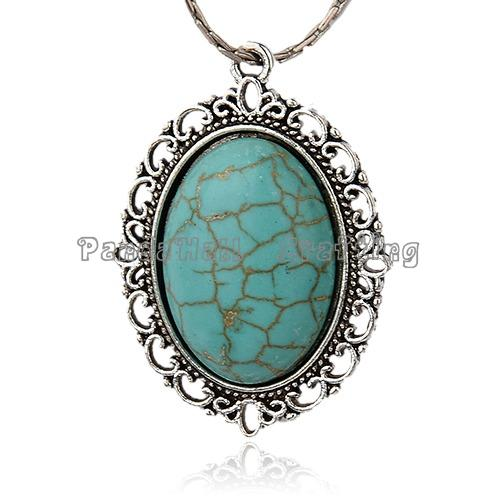 Antique Silver Alloy Gemstone Synthetic Turquoise Pendants, Oval, 39x28x7mm, Hole: 2mm(China (Mainland))