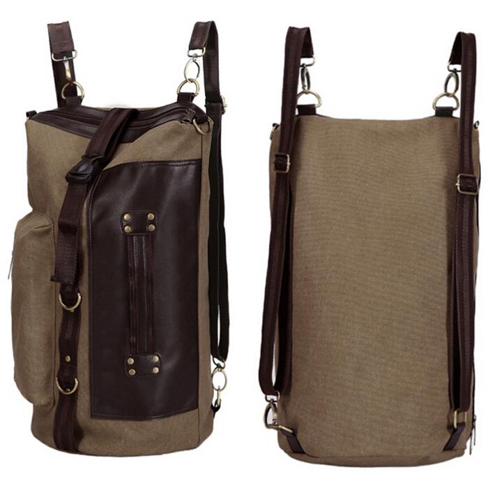 Men's Casual Vintage Canvas Backpack Messenger Rucksack school Satchel Crossbody Outdoor Hiking Camping bag Back Pack B5031305