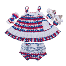 4th July Blue Star Red White Lace Petti Ruffles Pettidress Party Dress with headband shoes short pants,baby girl dress Free ship(China (Mainland))