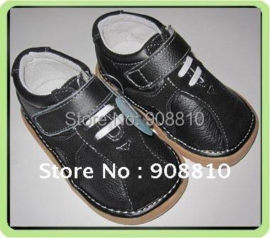 SandQ ребенок 100% кожаные ботинки твердого blk замши детская обувь новое прибытие ...
