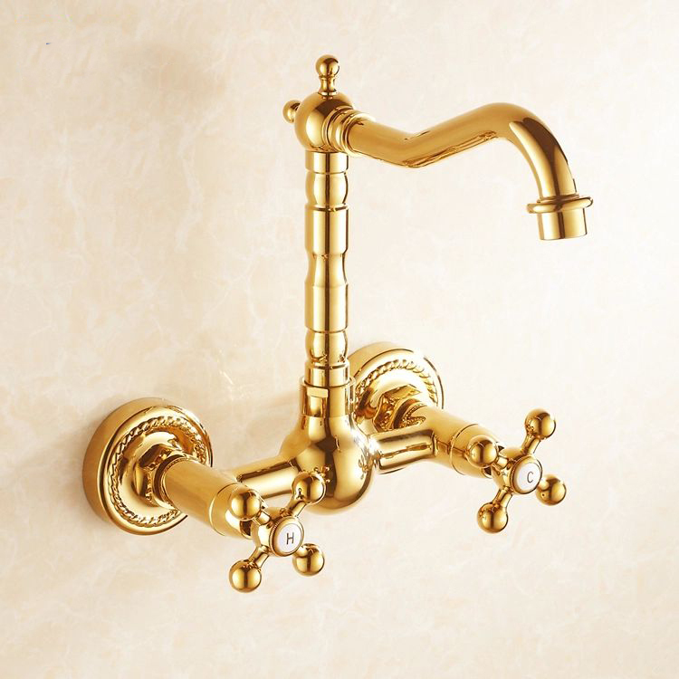 Free shipping wall mount kitchen faucet gold finish sink tap bathroom double handle mixer antique style high quality HJ-6709K(China (Mainland))