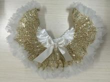 Gold Sequins Pettiskirt Baby Toddler Skirt Girls Ivory tutu Lace Petti 1st Birthday Tutu Sequin tutu Skirt(China (Mainland))