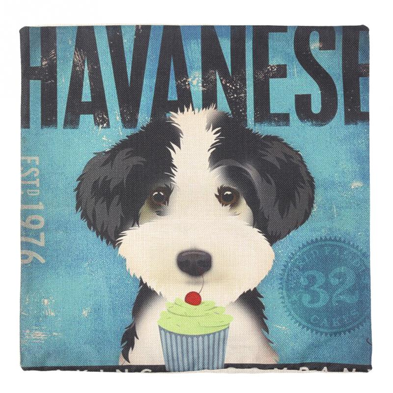 1x 45cm Havanese Cute Pet Dog cartoon Cover Linen Square Pillow Case Bedding Set pillow case