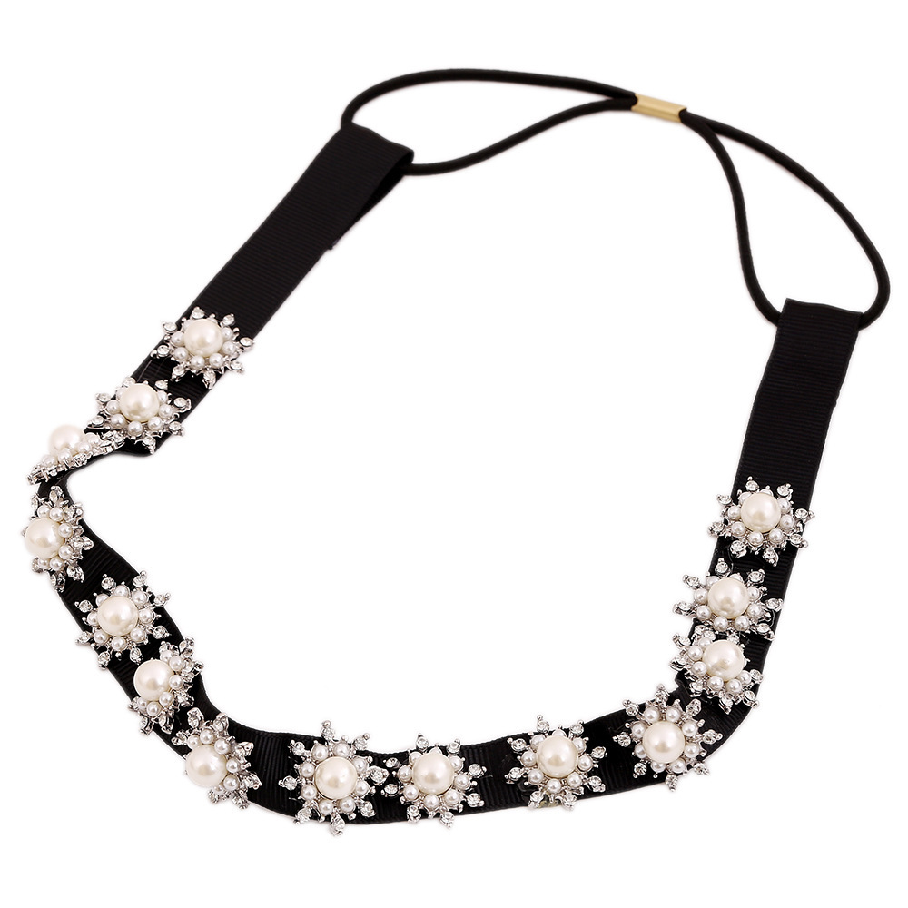 2015 New Arrival Lovely Pearl Rhinestone Hair Accessories Fashion Women's Exquisite Snowflake Thin Black Hairbands(China (Mainland))
