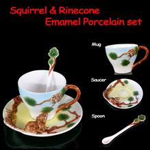 Three piece Set Bone China 3D Color Emamel Porcelain animal Squirrel Pinecone ceramic mug saucer spoon set for tea coffee milk