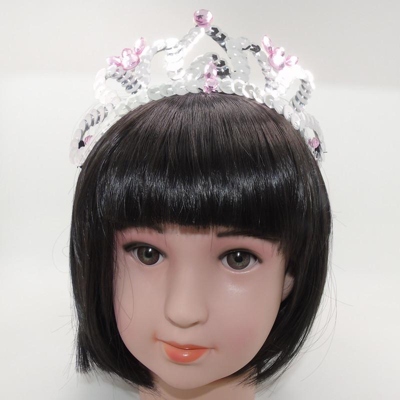 Pink Silver Sequins Crown Headband Crystal Stretch Hairband Princess Tiara Party Hair Band Cute Large Crown Felt Gift Head Wear(China (Mainland))
