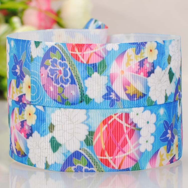 22mm color printing on the wind and the blue bell Roman Tam hair ribbon DIY polyester ribbon 0302(China (Mainland))