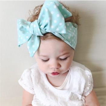 1Pc Baby Kid Girl Turban Rabbit Ears DIY Big BowKnot Hairband Toddler Infant Newborn Dot Headband Headwrap Hair Band Accessories