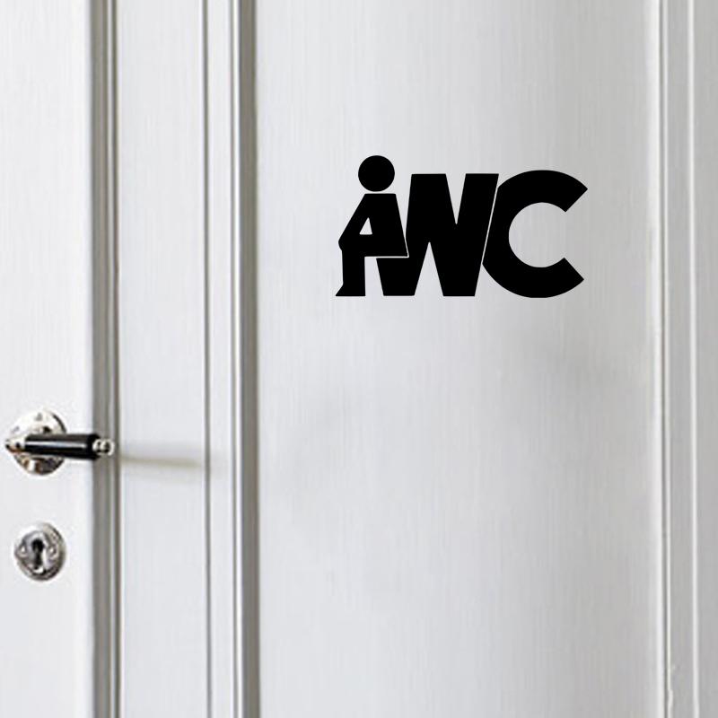 Black english word wc bathroom wallpaper diy removable - Stickers deco wc ...