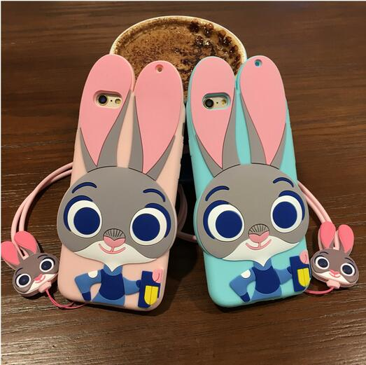"""4.7"""" 6 6S Zootopia Phone Case + Strap New Lovely 3D Soft TPU Gel Cartoon Cover For iPhone 6S 6 Rabbit Judy Nick Bunny Mobile Bag(China (Mainland))"""