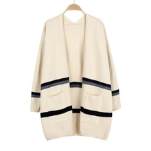Crochet Long Cardigan Women New Fashion Autumn Winter V Neck Contrast Color With Pocket Sweater Coat Outwear Oversize Pull Femme