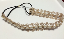 bohemian cream lace flower pearl crystal rhinestone headband hairdband hair accessories
