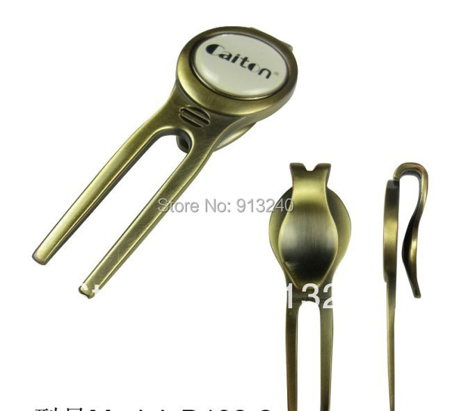 100/lot pieces golden custom golf divot repair tools with magnetic ball marker(China (Mainland))