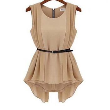 Hot Sale European Style Spring&Summer All-match Chiffon Slim Dress Sleeveless Tops Fashion One Piece Dress Free Sashes B054