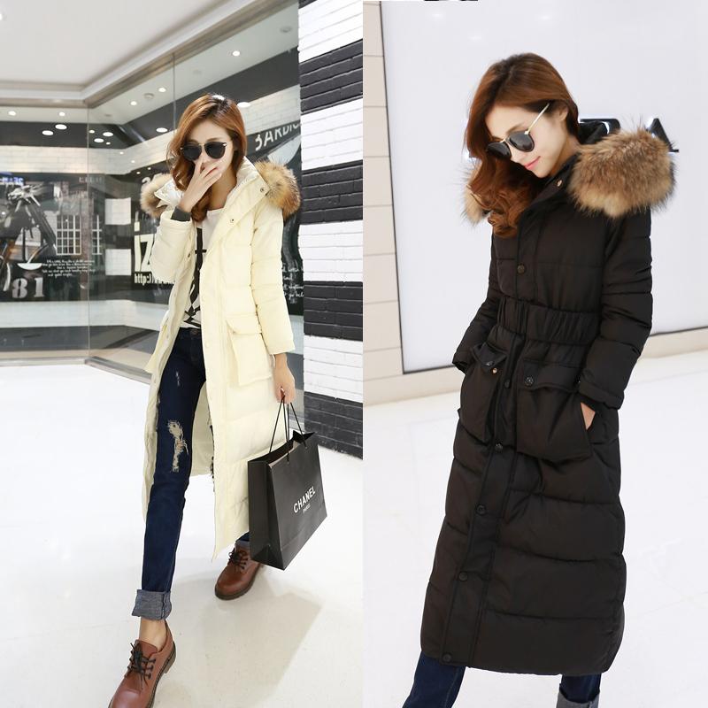 2014 зима новый женщин пальто енота меховым воротником женский длинное пальто толстый ватник и длинные участки плюс Размер вниз пальто WT180