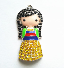 50x23mm 10pcs/lot silver Zinc alloy Mulan rhinestone Pendants for Jewelry Necklace making (As shown)(China (Mainland))
