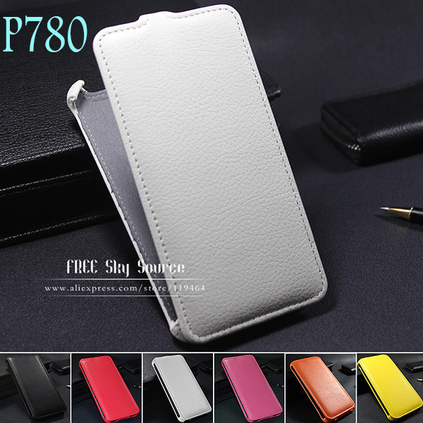 [ 2015 Newest item ] Factory Luxury Lichee Pattern flip leather Case for Lenovo P780 mobile phones Cover With track code(China (Mainland))