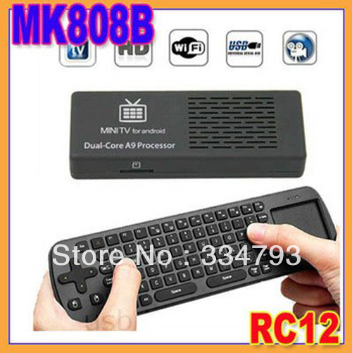 MK808B Bluetooth Mini PC RockChip RK3066 Dual Core Android 4.2.2 Google TV Dongle MK808 II + RC12 Airmouse Keyboard mouse(China (Mainland))