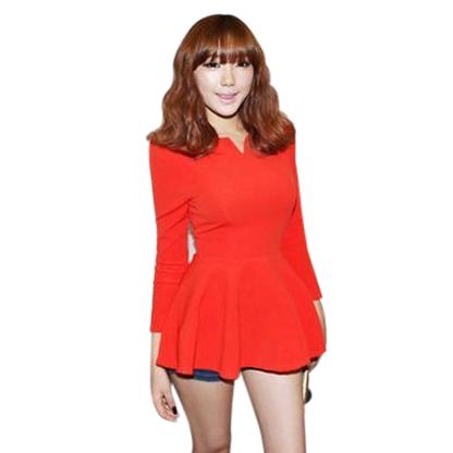 2016 Spring Top Fashion Five Colors Women Long Sleeve V-Neck Puff Sleeve Peplum Slim Cute Korea Tops Shirt S,M,L,XL(China (Mainland))