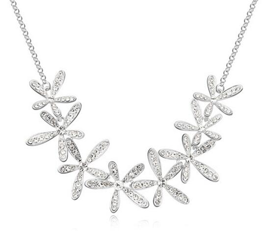 2016 New Fashion CZ diamond necklace Snow crystal necklace women charm jewelry Gold Silver Stainless Stell Necklace(China (Mainland))