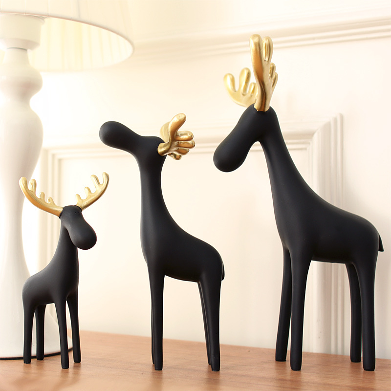 New Gold Animal Deer Figurine Home Office Craft Decor