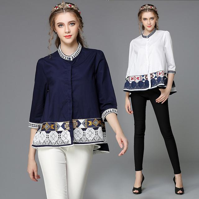 Geometry Embroidery Tribe InspiКрасный Женщины Pattern OverРазмер Хлопок Shirt Blouses ...