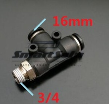 1 PD 16-06 tube size 16mm thread 3/4 inch , pneumatic fitting plastic hose connector tee - Auto Smart Solution store