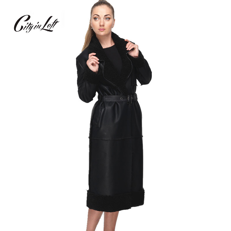 Women Winter Trench Coat With Sash Faux Fur Coat Maxi Length Novelty Brand Original Design Fashion Slim Trench Coat Female Одежда и ак�е��уары<br><br><br>Aliexpress