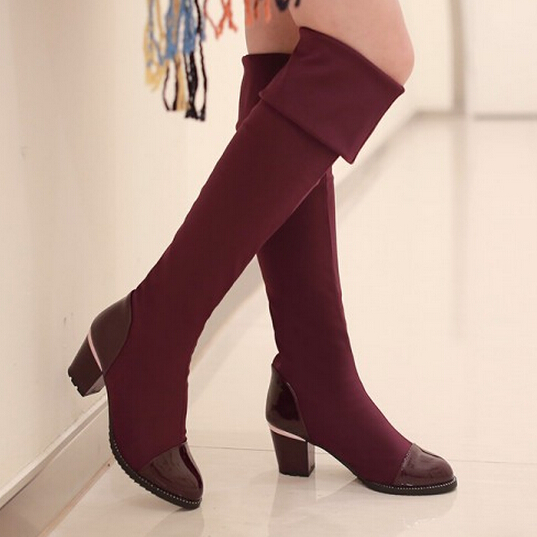 Party heel woman knee-high boots fashion winter boots new stretch new winter fashion Faux pu leather boots