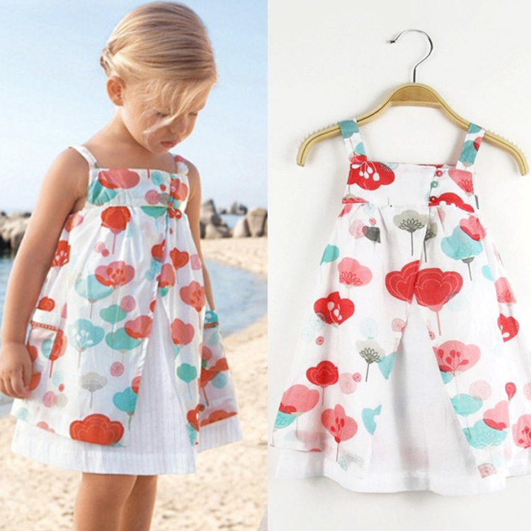 retail cotton 2015 summer little girl dress children's clothing sleeveless floral sundresses for girls kids flower beach dress(China (Mainland))