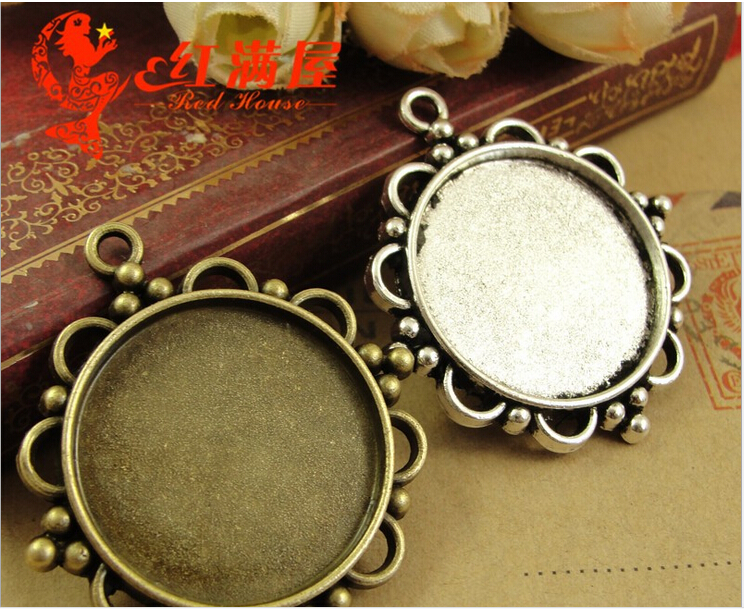 40*37MM Fit 25MM Antique Bronze round cameo setting, tibetan silver metal stamping blank base, jewelry making tray pendant bezel(China (Mainland))