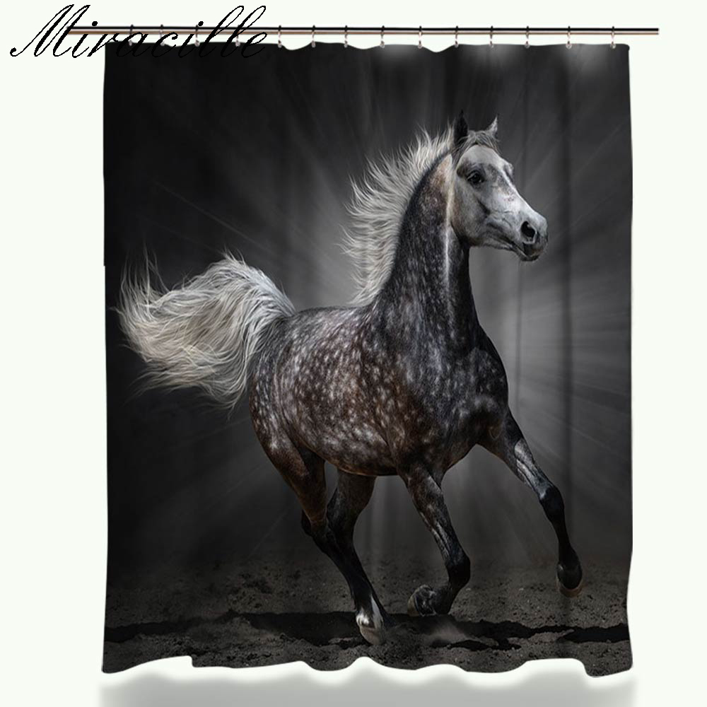 Miracille Running Horse Design Curtain for the bathroom Modern Polyester Waterproof Decorative Shower Curtains Home Accessories(China (Mainland))