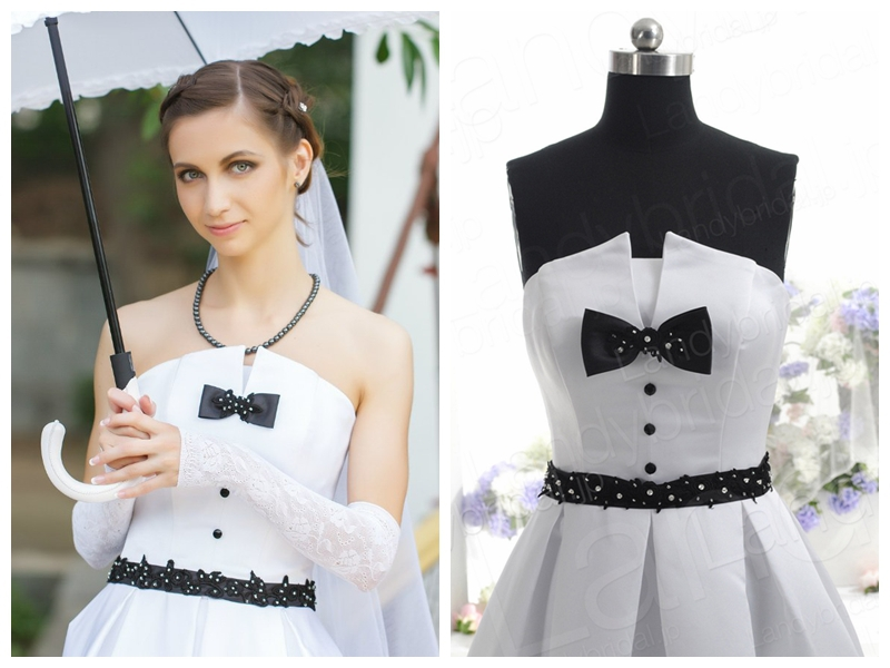 Bow And Black Lace Up Germany Style Wedding Dress With Beautiful Jpg